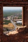 взгляд sagunto замока стоковое изображение rf