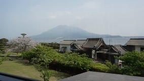 Взгляд Sakurajima от Senganen стоковая фотография