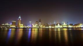 взгляд shanghai ночи фарфора bund Стоковое Изображение RF