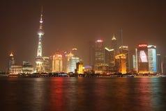 взгляд shanghai pudong ночи Стоковое Фото