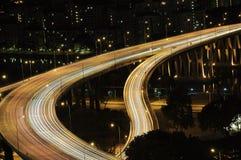 взгляд singapore ночи Стоковое Изображение