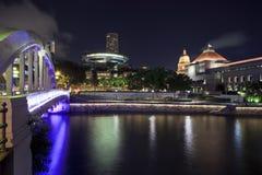 взгляд singapore ночи Стоковые Фотографии RF