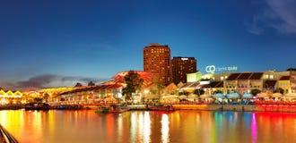 взгляд singapore quay clark стоковые изображения rf