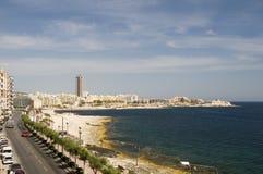 взгляд sliema malta береговой линии Стоковая Фотография