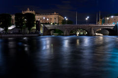 взгляд stockholm ночи Стоковая Фотография