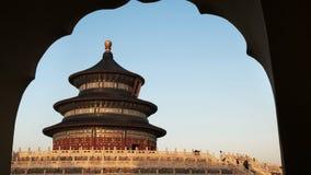 Взгляд Temple of Heaven, Пекин позднего вечера сток-видео
