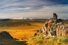 взгляд ukok плато горы Стоковое Фото