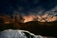 взгляд ночи горы Стоковое Изображение RF