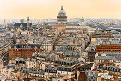 Взгляд Парижа с пантеоном, франция. Стоковые Фото