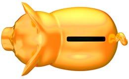 взгляд сверху банка золотистый изолированный piggy Стоковая Фотография RF