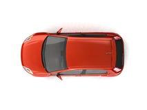взгляд сверху красного цвета hatchback автомобиля Стоковые Фотографии RF