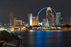 взгляд singapore ночи Стоковое Фото