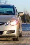 Взгляд автомобиля светов на дороге освещает Стоковые Изображения RF