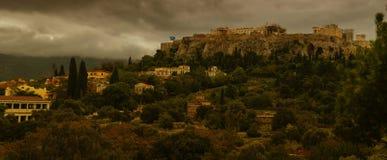 Взгляд акрополя в Афинах, Греции Стоковое фото RF