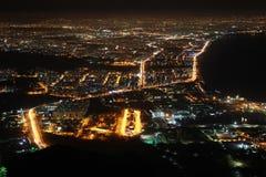Взгляд Антальи от Tunektepe на ноче. стоковая фотография