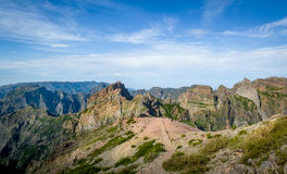 Взгляд ландшафта горы острова Мадейры от Pico Arieiro Стоковое фото RF