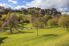 Взгляд ландшафта замка Эдинбурга Стоковое Изображение