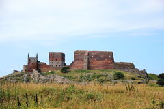 Взгляд ландшафта руин замка Hammershus Стоковое Изображение RF