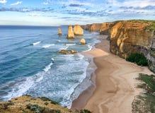 Взгляд 12 апостолов, Австралия захода солнца панорамный Стоковое Изображение
