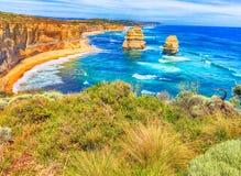 Взгляд 12 апостолов, Австралия захода солнца панорамный Стоковое Фото