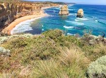 Взгляд 12 апостолов, Австралия захода солнца панорамный Стоковые Изображения