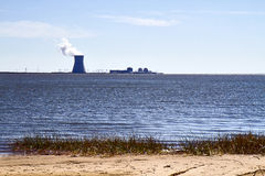 Взгляд атомной электростанции Стоковые Изображения RF