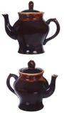 2 взгляда большого коричневого бака чая изолированного на белизне Стоковые Изображения RF