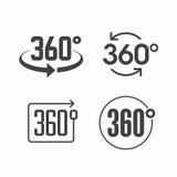 360 взгляда градусов значка знака Стоковое Изображение