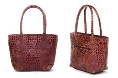 2 взгляда коричневой сумки женщин Стоковое Изображение RF