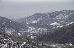 Взгляд Алма-Аты от следа к Kok-Zhailau Стоковое Фото