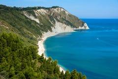 Взгляд адриатического побережья в области Марша Италии Стоковое Изображение RF