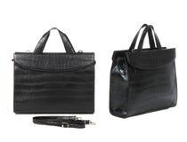 2 взгляда черного портфеля Стоковые Фотографии RF