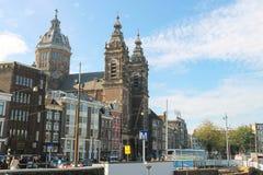 Взгляд базилики St Nicholas в Амстердаме, Нидерландах Стоковое Изображение