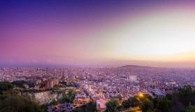 Взгляд Барселоны от бункера Carmelo Стоковое Изображение RF