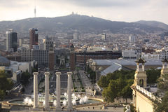 Взгляд Барселоны от холма Motjuic стоковая фотография rf