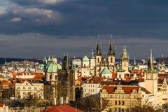 Взгляд башен Praque - Прага, чехия Стоковые Фотографии RF