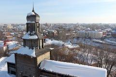 Взгляд башни города Кремля и Томска, России Стоковое Изображение RF