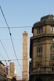 Взгляд башни Asinelli снизу, болонья Стоковые Изображения RF