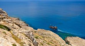 Взгляд береговой линии Greco накидки, Кипр 6 стоковое изображение rf