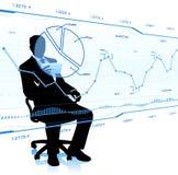 Взгляд бизнесмена на стеклянных диаграммах иллюстрация штока