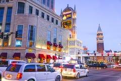 Взгляд вечера венецианской гостиницы Лас-Вегас - ЛАС-ВЕГАС - НЕВАДЫ - 23-ье апреля 2017 Стоковое фото RF