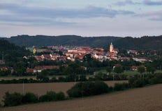 Взгляд вечера города Tisnov стоковая фотография rf