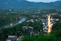 Взгляд вечера над Luang Prabang, Лаосом Стоковые Изображения
