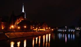 Взгляд вечера Wroclaw острова собора Стоковое Фото