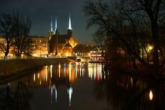 Взгляд вечера Wroclaw острова собора Стоковое Изображение
