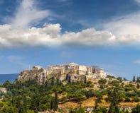 Взгляд виска Парфенона на афинском акрополе, Афинах Стоковые Изображения