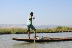 Взгляд вида на озеро Inle в Мьянме Стоковые Изображения