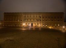 Взгляд дворца ночи королевского в Стокгольме Швеция 05 11 2015 Стоковые Изображения RF