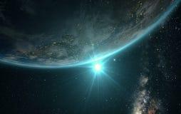 Взгляд восхода солнца земли от космоса иллюстрация вектора