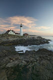 Взгляд восхода солнца маяка головы Портленда, накидки Элизабета, Мейна Стоковые Изображения